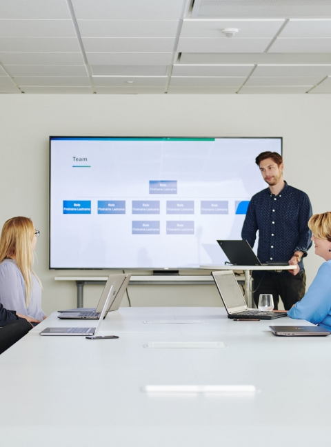 Person presenting in meeting